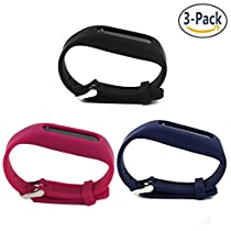 Austrake 3 Pack Silicon Replacement Wristbands Adjustable Colorful Fashionable Sport and Sleep Clasp Bands Wristband For Fitbit One (Black Nave Blue Red)