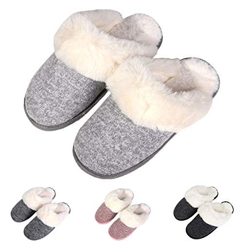 Slip Fleece Clogs (Women's Knit Memory Foam Slippers Non - Slip Comfy Fuzzy Indoor Slippers Warm Winter Fluffy Clog House Slippers LG39-40)