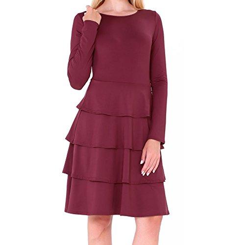 Bodycon4u Manches Longues Simple Ourlet Volanté Femmes Col Rond Lâche T-shirt Robe Rouge Vin