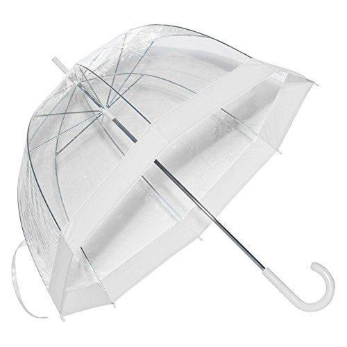 (Elite Rain Women's Clear Dome Bubble Umbrella with White Trim One Size)