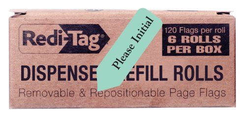 Redi-Tag Please Initial Printed Arrow Flags, 6 Roll Refill, 120 Flags per Roll, 1-7/8 x 9/16 Inches, Mint (91031)