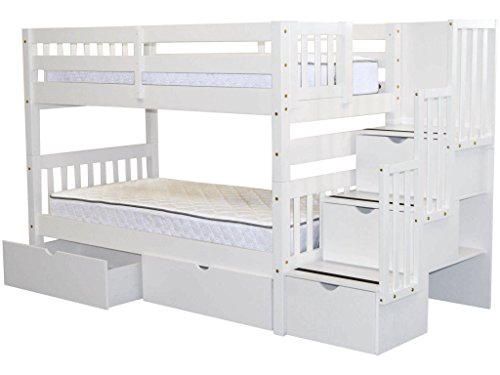 bedz king stairway bunk beds twin over twin with 3 drawers in the steps and 2 under bed drawers white
