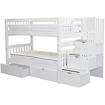 Bedz King Stairway Bunk Beds Twin Over With 3 Drawers In The Steps And 2