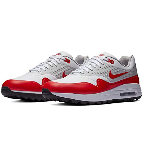 Nike Air Max 1 G Spikeless Golf Shoes 2019 White/University Red/Neutral Gray/Black Medium 9