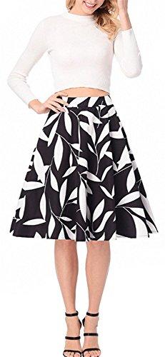 YOGLY Jupe de Bal Imprime fleur Vintage 1950s Audrey Hepburn Taille Haute avec zipp Noir