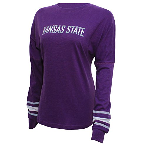 NCAA Kansas State Wildcats Women's Campus Specialties Long Sleeve Fan Tee, Large, Purple