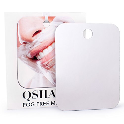 QSHAVE Fogless Shower Mirror Large Size with Suction Hook and Adhesive Hook Perfect for Shaving (Mirror Shave)