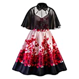 CCatyam Plus Size Dresses for Women, Skirt Print Loose Sexy Party Cocktail Swing Casual Fashion Red