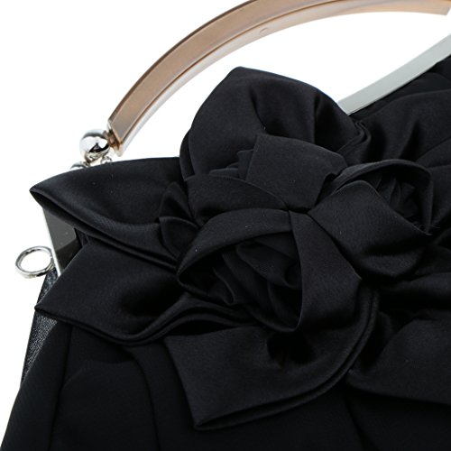 Clutch Handbag B Purse Black Chain Wallet Fashion Bag Woman Flower Gift Shoulder Ladies Blesiya EE4IU