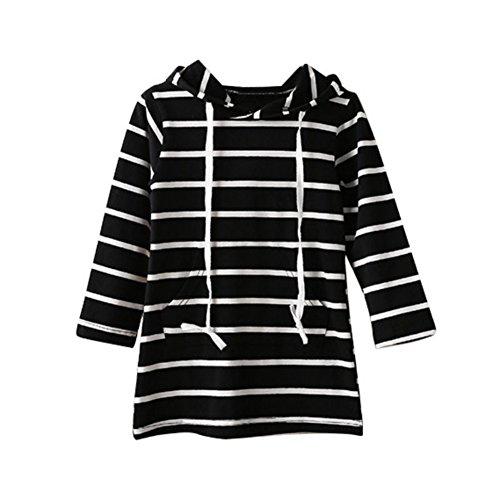 Weixinbuy Kids Girls Cotton Tops Long Sleeve Hooded Striped (Black And White Striped Flower Girl Dress)