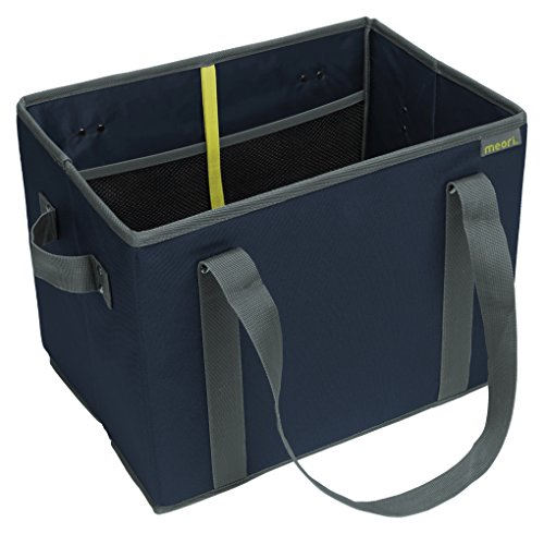 meori New Foldable Collapsible Reusable Market Basket Tote Bag with Handles for Grocery Shopping, Picnic, Road Trip, Errands in Marine Blue (Dimensions: 14.6 x 11 x 10.25 inches Open) ()
