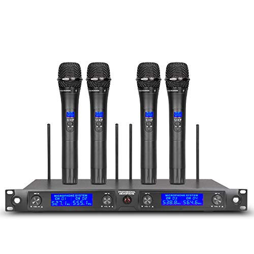 Wireless Microphone System UHF 4 Channels Mics 4 Handheld Transmitter Pro Dynamic Mic Whole Metal with New FCC Frequency for Party Karaoke DJ Wedding Church Conference ()