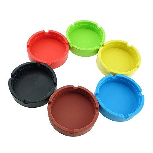 Freehawk® Silicone Round Ashtray, Eco-Friendly Colorfull Premium Silicone Rubber High Temperature Heat Resistant Round Design Ashtray (6pcs) Color random