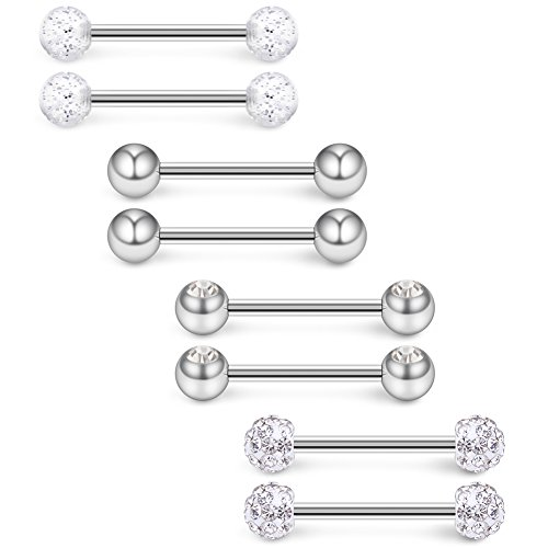 Ruifan 14G 9/16Inch Crystal Ball Nipple Tongue Shield Ring Barbell Body Piercing Jewelry Retainer 8PCS - -