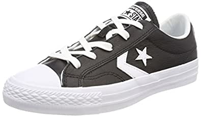 Converse Lifestyle Star Player Ox Leather, Zapatillas de Deporte Unisex Niño, Negro (Black/White/White 083), 36 EU