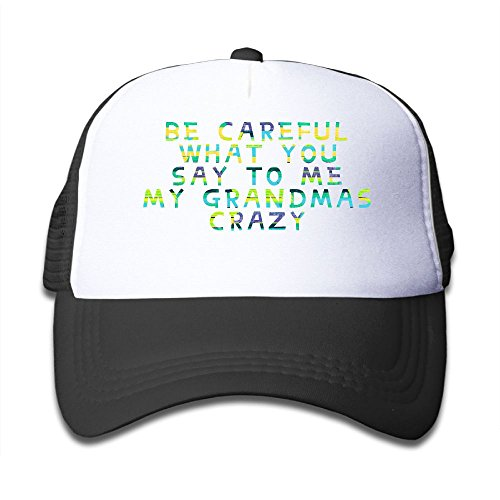 Gdgd1 Caps Be Careful What You Say To Me My Grandmas Crazy Colortone Children's Cool Adjustable Flat Hat Mesh Baseball - Frame Is Size My What