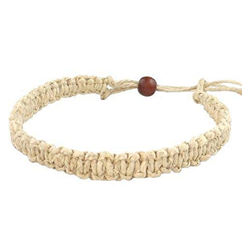 Hawaii Hemp Handmade Bracelet or Anklet with Hawaiian Koa Wood -