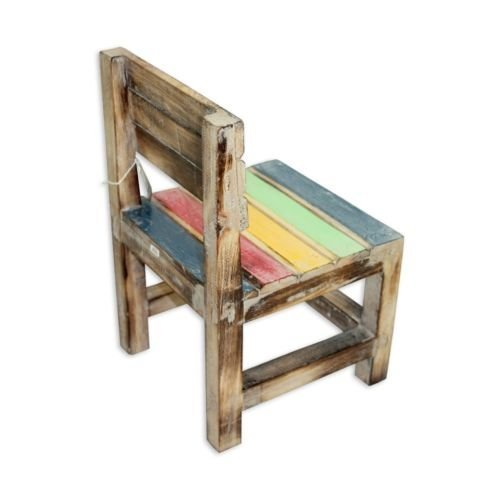 40Cm Kids Wooden Chair, Washed Coloured Beach Look