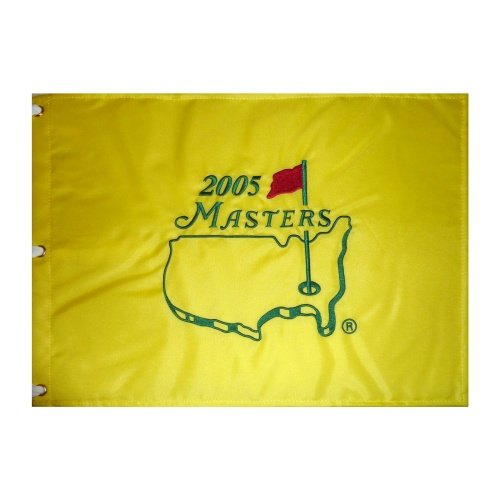(2005 Masters Embroidered Golf Pin Flag - Tiger Woods Champion, Jack Nicklaus Final)