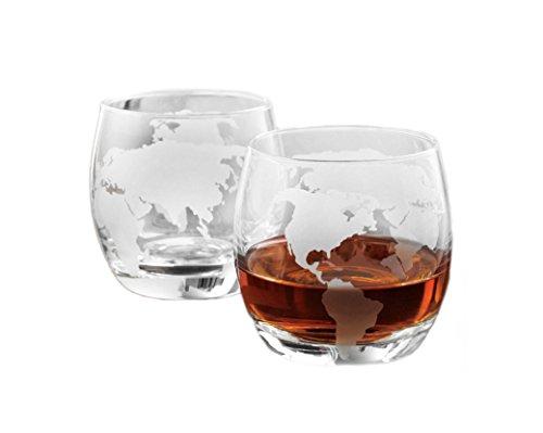 Denizli Etched Globe DOF 10 Oz Whisky Glasses, Old-Fashioned Liquor Lead Free Glassware, Set of 2