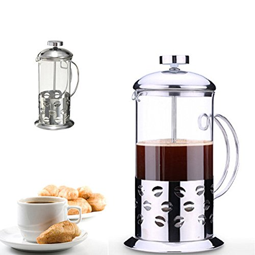 thitikshop Stainless Steel Glass Teapot Cafetiere French Coffee Tea Filter Press Plunger ( 350ml )