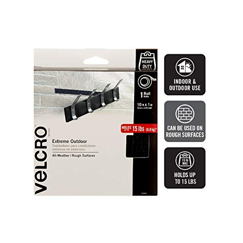VELCRO Brand Industrial Strength Fasteners   Extreme Outdoor Weather Conditions   Professional Grade Heavy Duty Strength Holds up to 15 lbs on Rough Surfaces   10 ft x 1 inch Tape, Black from VELCRO Brand