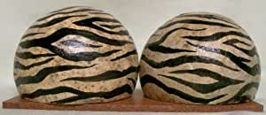 Authentic African Art Zebra Pattern Monkey Apple Salt & Pepper Shakers