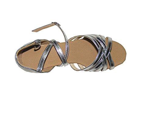 Colorfulworldstore Zapatos de baile latino de poliuretano en color dorado/ plateado/ púrpura con cinco correas de satén plateado