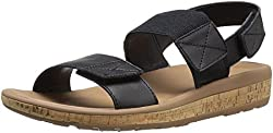 Rockport Women's Weekend Casuals Keona 2 Band Gore Black Smooth Sandal 9.5 M (B)
