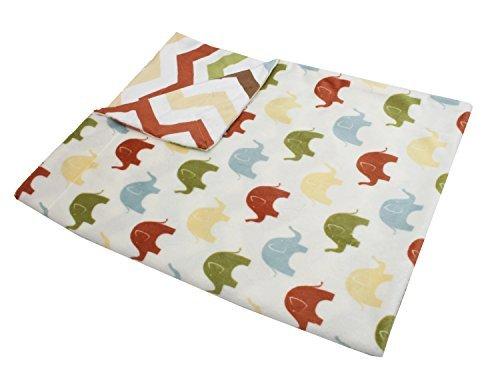 Thro by Marlo Lorenz Elmer Elephant Micro Plush Baby Blanket, 30 by 40-Inch, Safari Multi by Thro by Marlo Lorenz