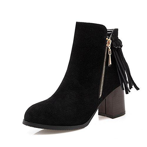 Suede Imitated Black Womens BalaMasa Cow Tassels Boots Chunky Heels Zipper wgqqfYzx