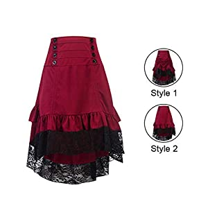 Burvogue Steampunk Skirt,Women Multi Layered Gothic High Low Skirt Vintage Outfits