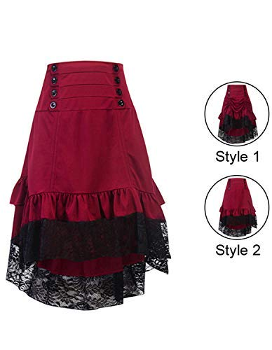 Burvogue Steampunk Skirt,Women Multi Layered Gothic High Low Skirt Vintage Outfits 4