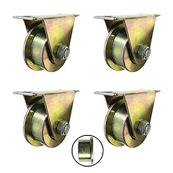 Engins Industriels,Charge 500KG 4X Roulettes,2.5//3//4 pouces Roue de Voie de Type T,Coulissante En Acier Roue,Double Roulement,pour Porte Coulissante