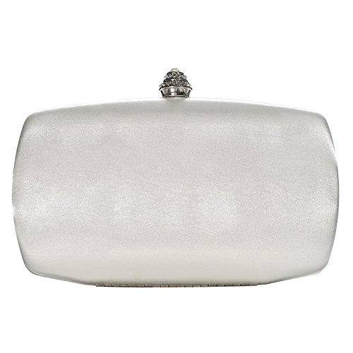(DMIX Womens Satin Silk Hard Case Box Clutch Evening Bags Ivory)