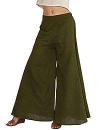 Aivtalk Women's Cotton Wide Leg Palazzo Lounge Casual Loose Culotte Pants