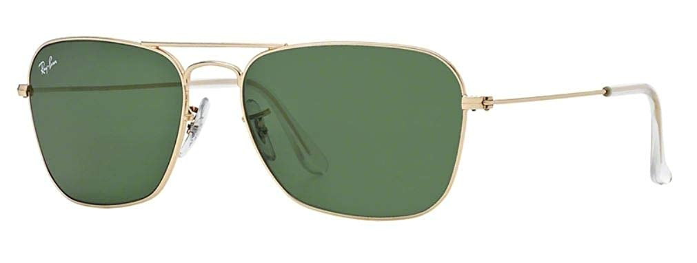 348ced6599ded Amazon.com  Ray-Ban RB3136 001 Caravan Sunglasses Gold Frame   Green  Classic Lens 55mm  Clothing