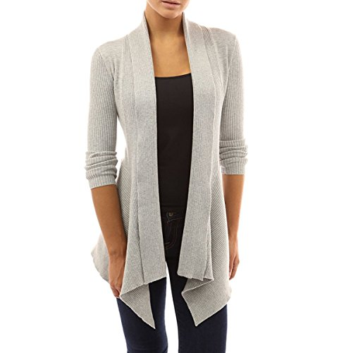 Women' Cardigan Sweaters Cascading Sweatshirt Casual Blouse by Azot (L, Grey)