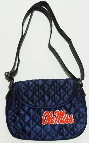NCAA Ole Miss Rebels Quilted Saddlebag Purse Cross Body Bag Embroidered Logo ()