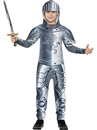 Smiffy's Children's Deluxe Armoured Knight Costume, Jumpsuit & Headpiece, Ages (Werewolves Costumes)