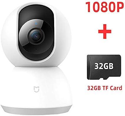 sztech Xiaomi Mijia Mi 1080P Cámara Inteligente IP 360 ángulo inalámbrico WiFi Visión Nocturna Cámara de Video Cámara Web Videocámara Proteja la Seguridad del hogar con Tarjeta SD/TF de 32GB