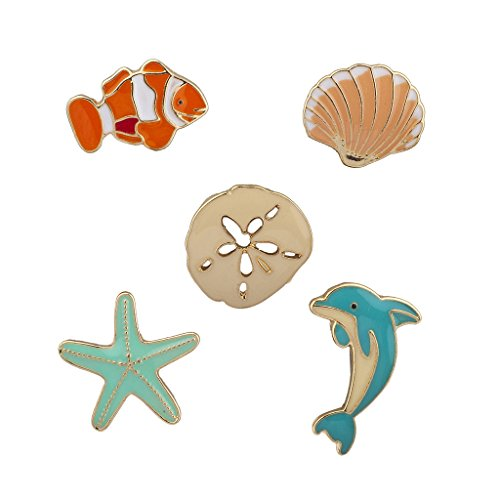 - Lux Accessories Goldtone Tropical Sea Animals Summer Starfish Brooch Pin 5pcs