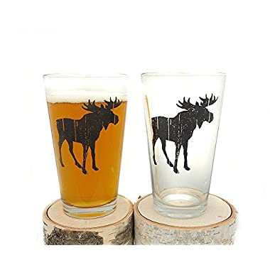 Pint Glasses - Rustic Moose Beer - Set of Two. Screen Printed Pint Glasses