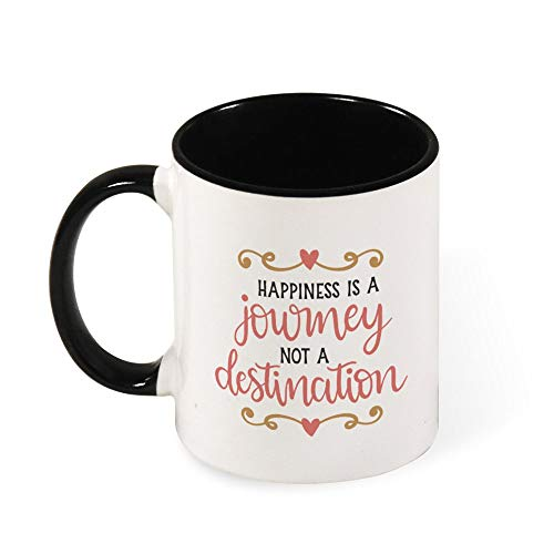 DKISEE Colorful Happiness Is A Journey Not A Destination 0017 Coffee Mug Novelty 11oz Ceramic Mug Cup Birthday Christmas Anniversary Gag Gifts Idea - Black