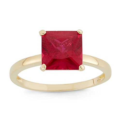 - Celebration Moments Created Ruby Princess Cut Ring in 10K Yellow Gold, 8mm - Size 10