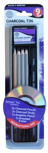 - Daler Rowney Simply Pencil Charcoal Tin Set (9 Pieces)