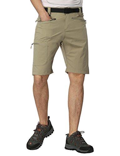 5 Nylon Pockets - MIERSPORT Men's Travel Cargo Short Lightweight Water Resistant Hiking Short with 5 Pockets, Quick Dry Nylon, Side Elastic Waist, Rock Gray, M