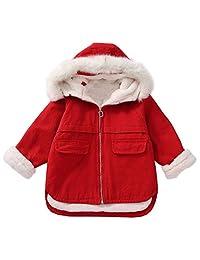 MaxKids Girls' Winter Warm Fleece Lined Red Zip up Jacket Coats Outwear with Fur Collar