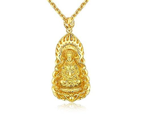 LiFashion LF 18K Gold Plated Chinese Sakyamuni Buddha Blessing Lucky Pendant Necklace Amulet Jewelry for Men Women, 2344mm