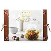 Numi Organic Flowering Tea Gift Set with Glass Teapot and 6 Flowering Tea Blossoms